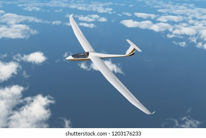 Glider over the clouds Computer generated 3D illustration