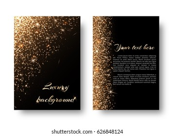 Glimmer background with glittering lights. Glossy texture on a black backdrop.