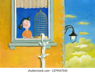 a glimpse of a window of a palace with an open cage a little gird child looks surprised humorous painting surreal illustration