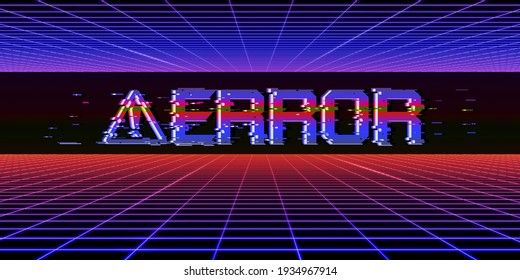 Glitch effect Computer Danger Symbols Cyberpunk Concept 80's Neon Tone Color Hacking Digital pixels Computer system error 3D illustration