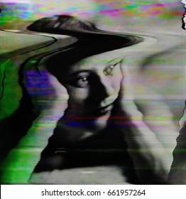 Glitched portrait of woman. Glitch art. (Camera effect)