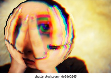 Glitched portrait of a woman with hands on her face. Digital painting.Glitch art.
