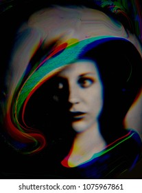 Glitched portrait of a young woman with hat. Color screen effect.