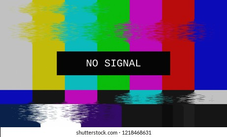 Glitched transmission, distorted noisy SMPTE color bars (a television screen test pattern) with the text No signal.