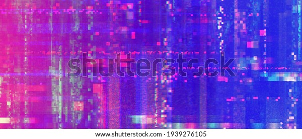 Glitchy pixelated noise texture. Colorful electronics malfunction screen