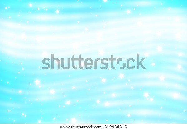 Glitter blur blue background with lights and stars