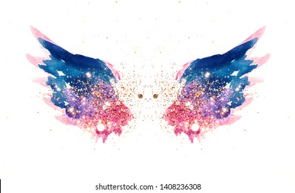 Glitter and glittering stars on abstract pink and blue watercolor wings in vintage nostalgic colors.