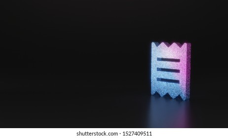glitter neon violet pink ombre symbol of paper bill piece 3D rendering on black background with blurred reflection with sparkles