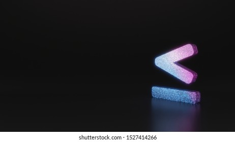 glitter neon violet pink ombre symbol of less than equal mark 3D rendering on black background with blurred reflection with sparkles