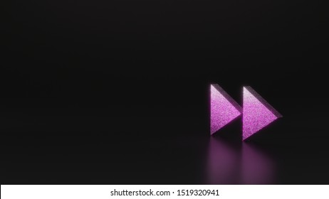 glitter pink silver symbol of double fast forward right triangle arrows 3D rendering on black background with blurred reflection with sparkles