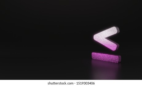 glitter pink silver symbol of less than equal mark 3D rendering on black background with blurred reflection with sparkles