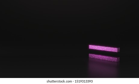 glitter pink silver symbol of thin equal sign 3D rendering on black background with blurred reflection with sparkles