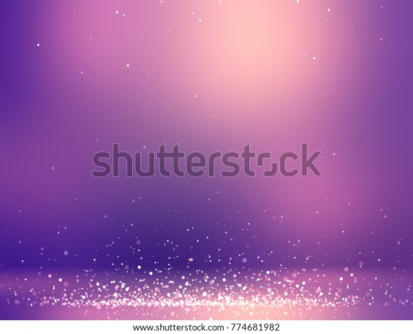 Glitter sequins decoration purple room. Empty lilac 3d background. Golden gleam wall and floor texture. Festive interior.