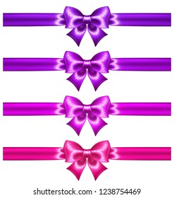 Glitter ultra violet and pink bows with ribbons are perfect for creating gift, wedding, business cards and gift vouchers