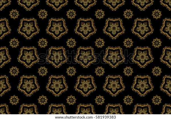 Glittering background illustration on black backdrop. Raster seamless golden Christmas ornament pattern.
