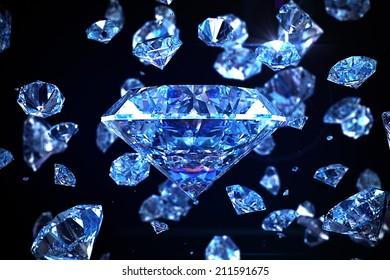 Glittering blue luxury diamonds on black background with depth of field.
