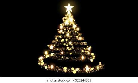 Glittering Christmas Tree Illustration - Golden