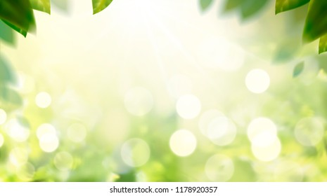 Glittering nature bokeh background with green leaves frame in 3d illustration