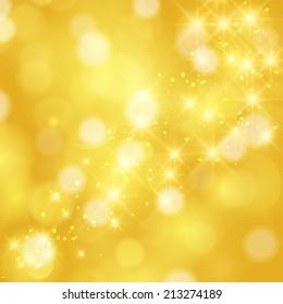 Glittering stars on golden glittering Christmas background
