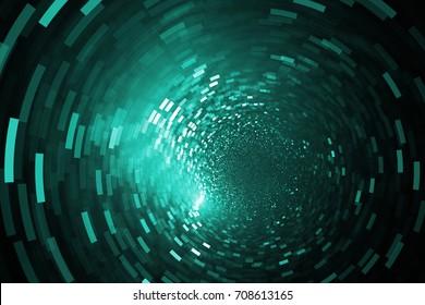 Glittering swirl. Abstract teal sparks on black background. Fantasy fractal texture. Digital art. 3D rendering.