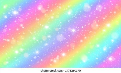 Glitters rainbow sky. Shiny rainbows pastel color magic fairy starry skies and glitter sparkles. Unicorn rainbow, fantasy princess or star watercolor universe background illustration