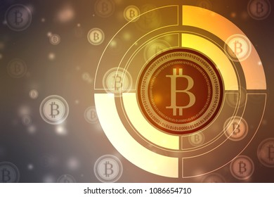 Global Abstract Bitcoin Crypto Currency Blockchain Technology World Map Background Illustration