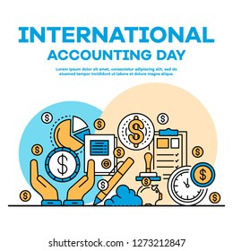 Global accounting day banner. Outline illustration of global accounting day banner for web design