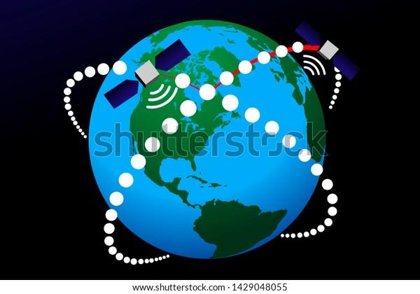 Global broadband Internet. Satellite constellation development project. Space-based Orbital Internet communication system. Satellites flying in Earth orbit. illustration