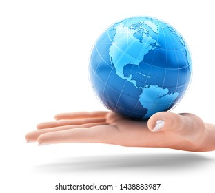 Global business and global communication concept, holding the blue globe of planet Earth on an open human palm, isolated on white, 3d illustration (Elements of this image furnished by NASA)