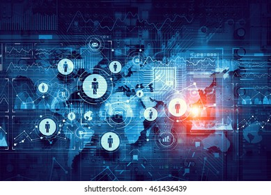 Global cloud technology . Mixed media