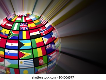 Globe world flags isolated on white stock illustration 90955634 global communication concept glowing globe with world flags on black background freerunsca Image collections