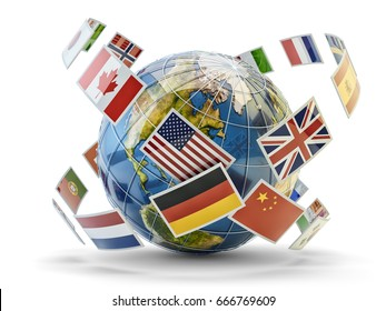 Global communication and international messaging concept, national flags of world countries around Earth globe isolated on white, 3d illustration (Elements by NASA)