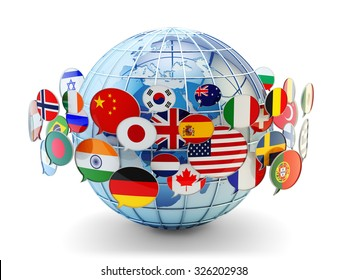 Global communication, international messaging and translation concept, speech bubbles with flags of world countries around Earth globe isolated on white (Elements of this image furnished by NASA)