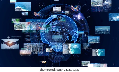 Global communication network concept. Planet earth in cyberspace. *Video version available in my portfolio.
