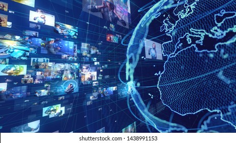 Global communication network concept. Streaming video. Social networking service.