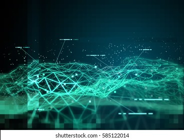 Global Data and 3D visualization of information tracking. 3D Illustration.
