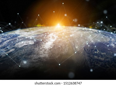 Global datas exchanges and futuristic connections system over the globe 3D rendering elements of this image furnished by NASA