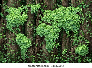 Global development and the green economy as a business concept with a map of the world made of an organized group vine leaves growing on forest trees as an environmental conservation symbol.