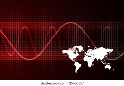 Global Economic Crisis Abstract Background in Red