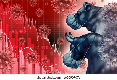 Global economy pandemic fear and economic coronavirus fear or virus outbreak and Stock market fears as a bull and bear sick financial health as a business recession with 3D illustration elements.