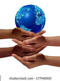 Global education community as children learning and development concept with a group of hands representing ethnic groups of young people cooperating together as friends to hold a world planet.