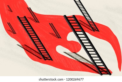 Global epidemic of suicides. Visual metaphor. Conceptual illustration showing a human figure of blood and stairs as places of suicide. Red and black on white background.