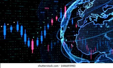 Global finance concept. Stock chart. Worldwide business.