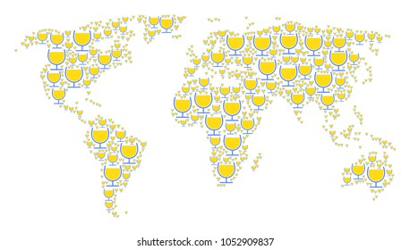 Global geography atlas concept made of wine glass elements. Raster wine glass design elements are composed into conceptual geographic scheme.