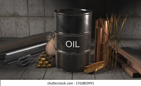 global international commodity trade in oil, gold, silver, copper, corn and wheat on the commodities market - 3D illustration render