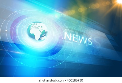 Global International Connections News Background, World Map with Concentric Waves circles Around the Earth Globe, Futuristic News Background with Lens Effect.