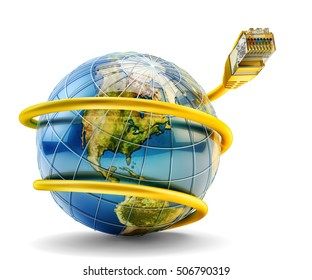 Global internet communication and network connection concept, yellow ethernet cable with RJ45 plug connector around Earth globe isolated on white background, 3d illustration (Elements by NASA)