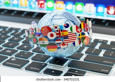 Global internet communication, online messaging and translation concept, speech bubbles with national flags of world countries around blue Earth globe on computer laptop keyboard (Elements by NASA)