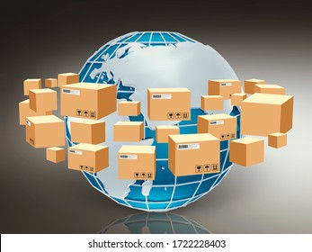 Global logistics concept. 3D illustration with parcel boxes flying around planet Earth
