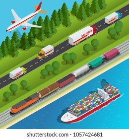 Global logistics network Flat isometric  illustration Set of air cargo trucking rail transportation maritime shipping On-time delivery Vehicles designed to carry large numbers of China cargo.